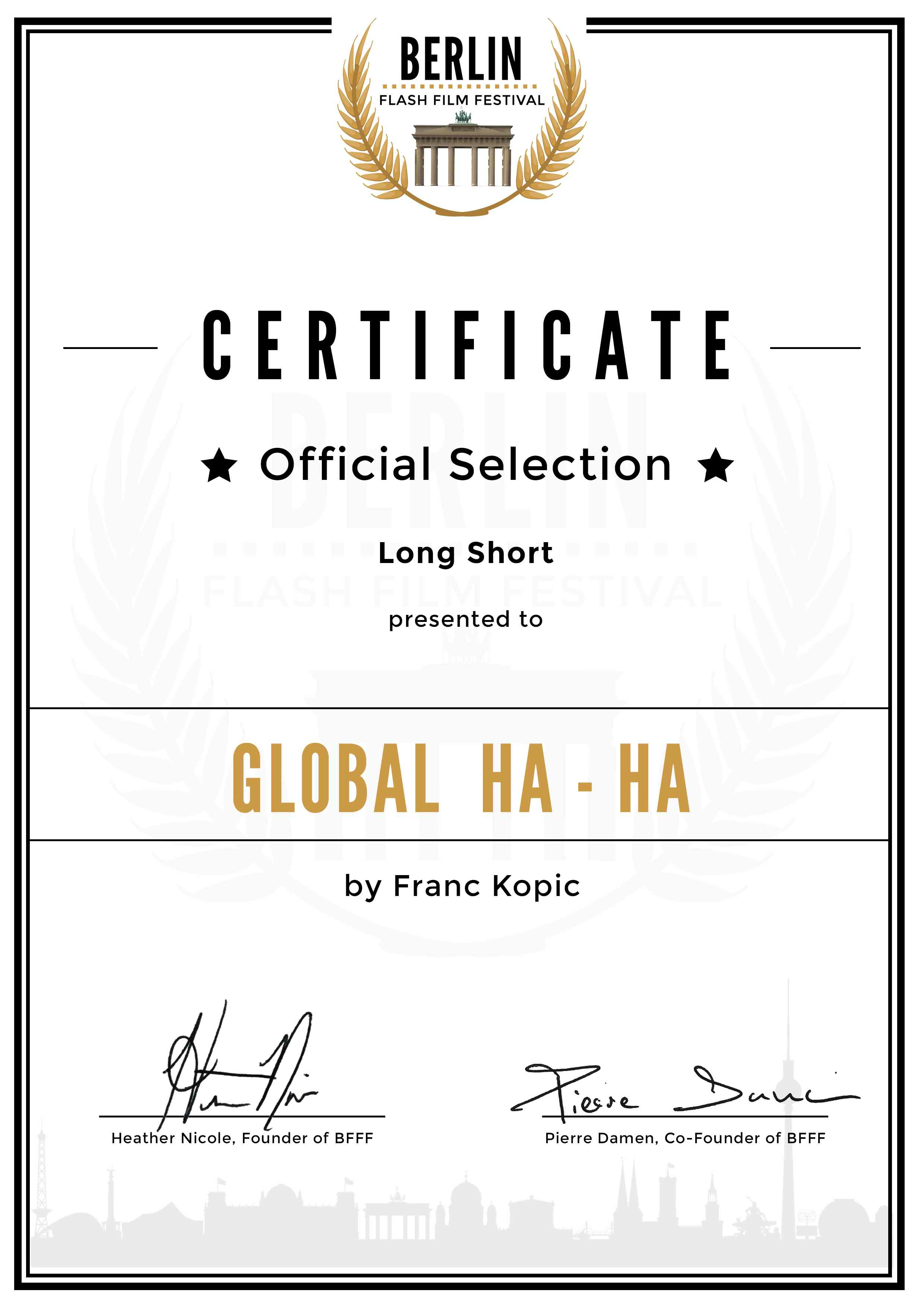 00035 Franc Kopic Official Selection Certificate DinA4