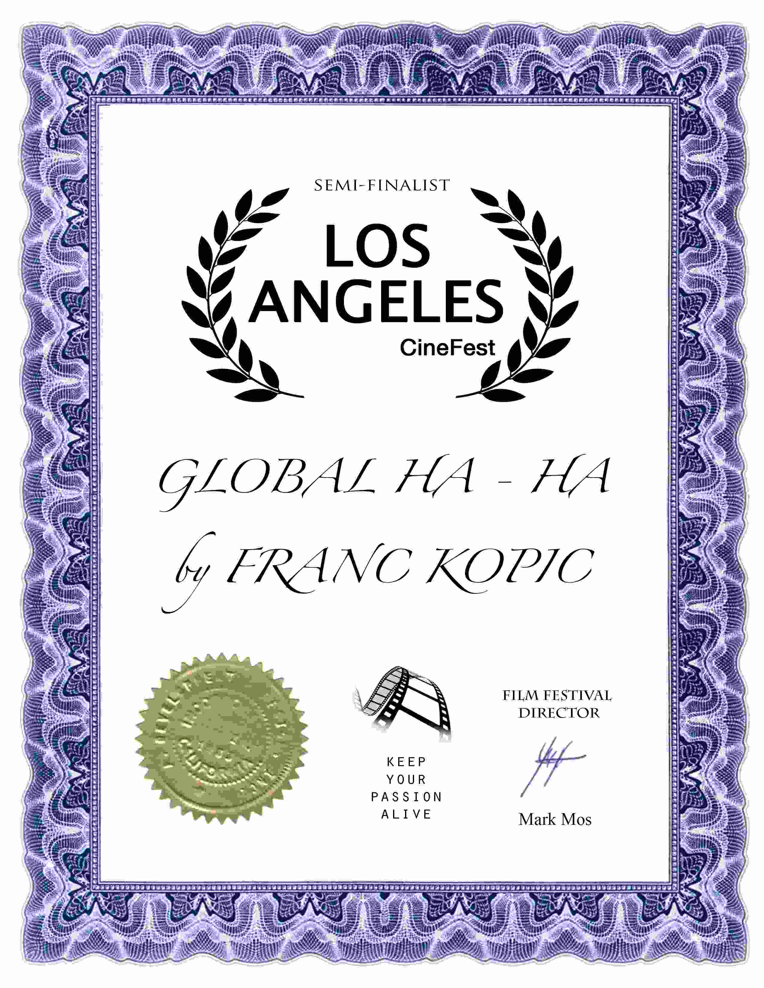 GLOBAL HA HA by FRANC KOPIC certifikat